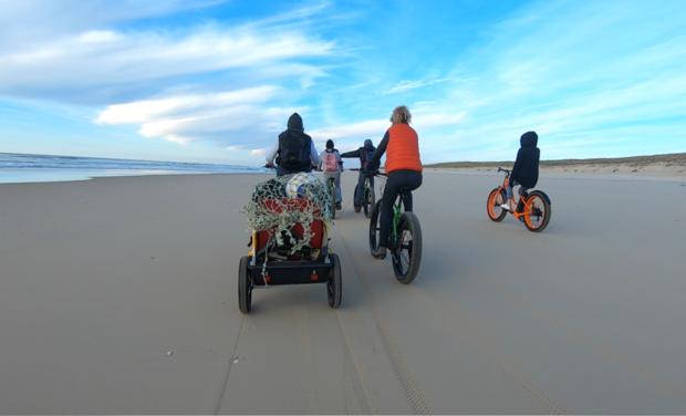 Visuel du projet Campagne Big'up Cyclean parc fatbikes électriques collecte déchets plage