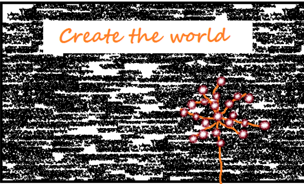 "Visueel van project Marionnettes ""Create the world"""