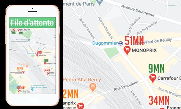 Visueel van project L'Appli STOP FILE D'ATTENTE - La fréquentation des commerces EN TEMPS REEL