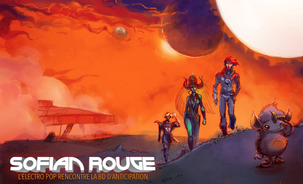 Project visual SOFIAN ROUGE: L'electro pop rencontre la BD d'anticipation.
