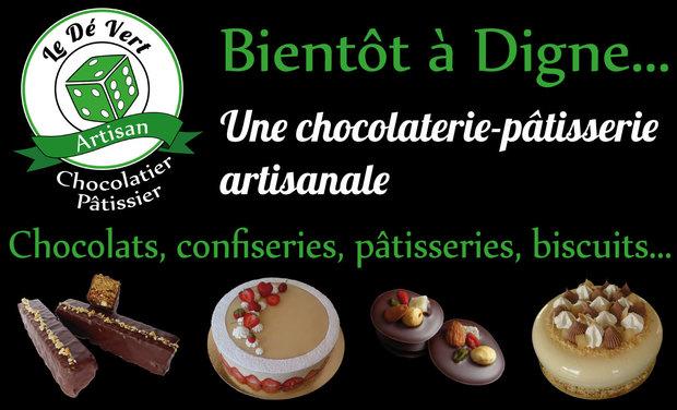 Project visual Le Dé Vert : une chocolaterie-pâtisserie artisanale à Digne !
