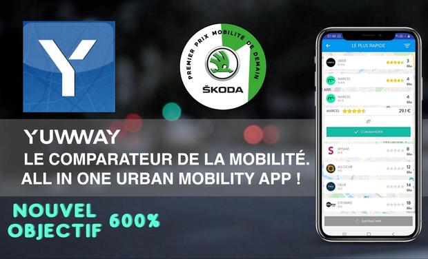 Visuel du projet Yuwway, le comparateur de la mobilité. Une offre tout-en-un !