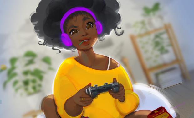 Visuel du projet AFROGAMEUSES pour la place des femmes noires dans le secteur des jeux vidéos