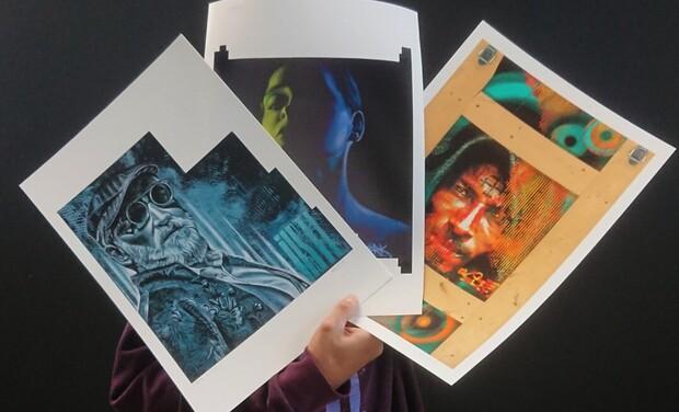 Visuel du projet Idée cadeau, digigraphie de trois œuvres d'IKSTE - édition limitée