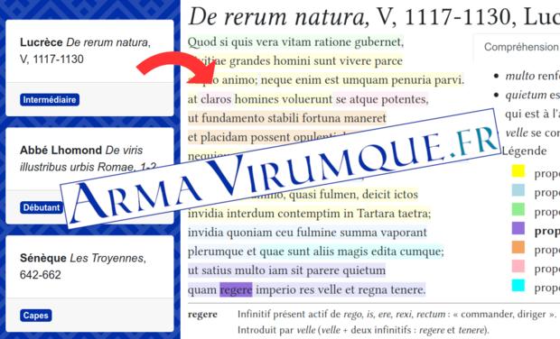 Visueel van project Arma Virumque : révolutionnons le latin et le grec !