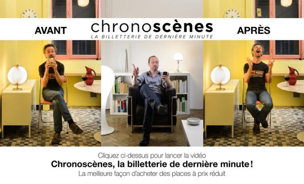 Visuel du projet CHRONOSCÈNES : la billetterie de dernière minute, simple, rapide et efficace pour un gain de temps et d'argent