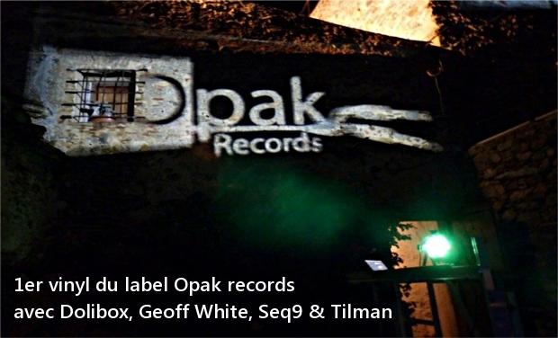Visuel du projet 1er vinyl du label Opak records avec Dolibox, Geoff White, Seq9 & Tilman