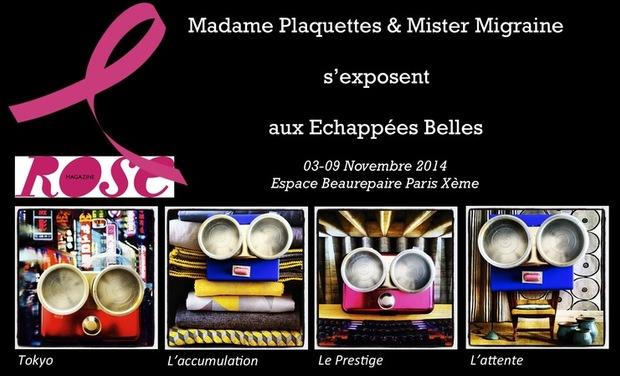 Visuel du projet Contre le Cancer du Sein : Mme Plaquettes & Mr Migraine s'exposent aux Échappées Belles