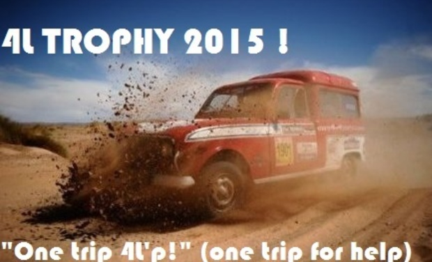 "Visueel van project 4L Trophy ""One trip 4L'p !"" (one trip for help!)"
