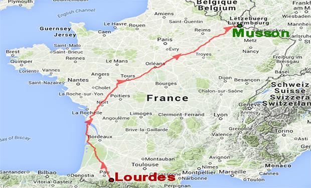Visuel du projet 1113 km de Lourdes(Fr) à Musson(Bel) en aide aux personnes polyhandicapées.