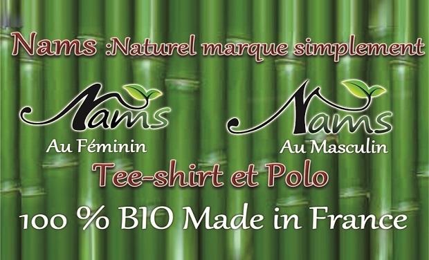 """Visuel du projet """"Nams"""" la marque BIO qui se décline avec son double logo."""