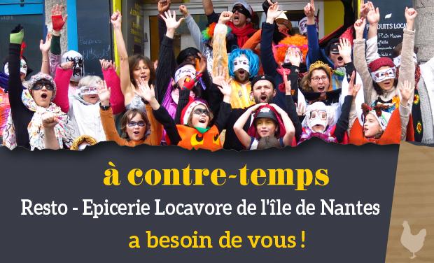 """Visuel du projet """"à contre-temps"""" resto épicerie locavore de l'île de Nantes a besoin de vous."""