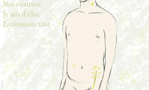 Visuel du projet Olivier : « Mes cicatrices Je suis d'elles, entièrement tissé »
