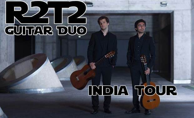 Visueel van project R2T2 guitar duo, india tour 2016