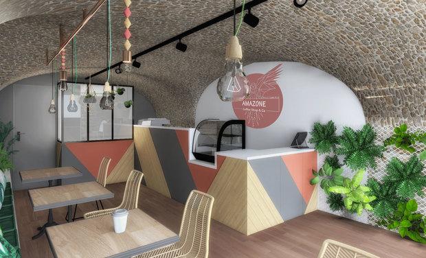 """Visueel van project Amazone coffee shop&Co votre shop  """"healthy&organic"""""""