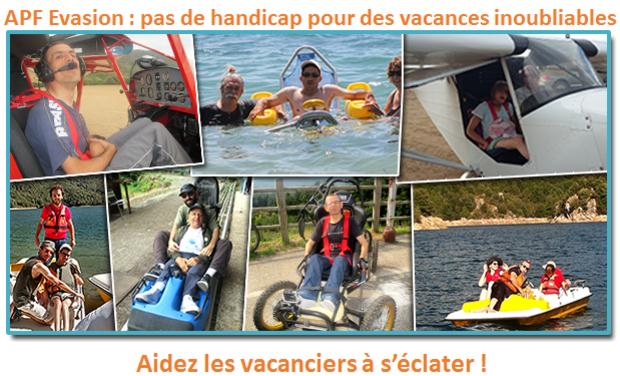 Visueel van project APF Evasion : pas de handicap pour des Vacances inoubliables ! Aidez les vacanciers à s'éclater !