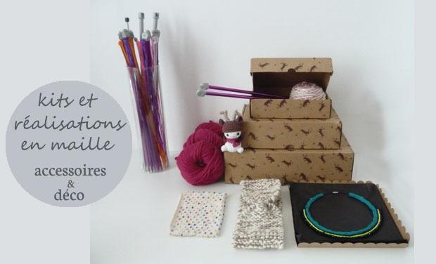 Visuel du projet Bleu Polaire - déco et accessoires de mode en maille : kits & réalisations