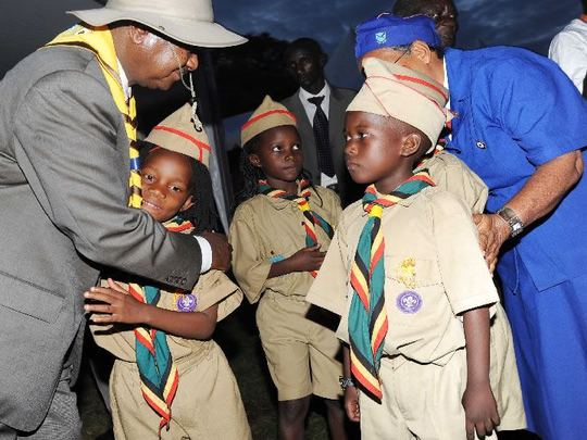 The_president_of_uganda_and_also_the_patron_for_uganda_scouts_association_with_the_scouts-1492802505